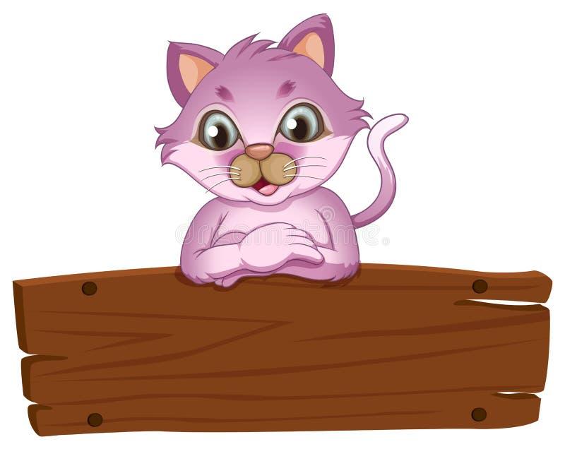 Een aanbiddelijke kat die over het lege houten uithangbord leunen vector illustratie