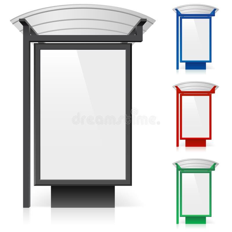 Een aanplakbord bij een bushalte in verschillende kleuren royalty-vrije illustratie