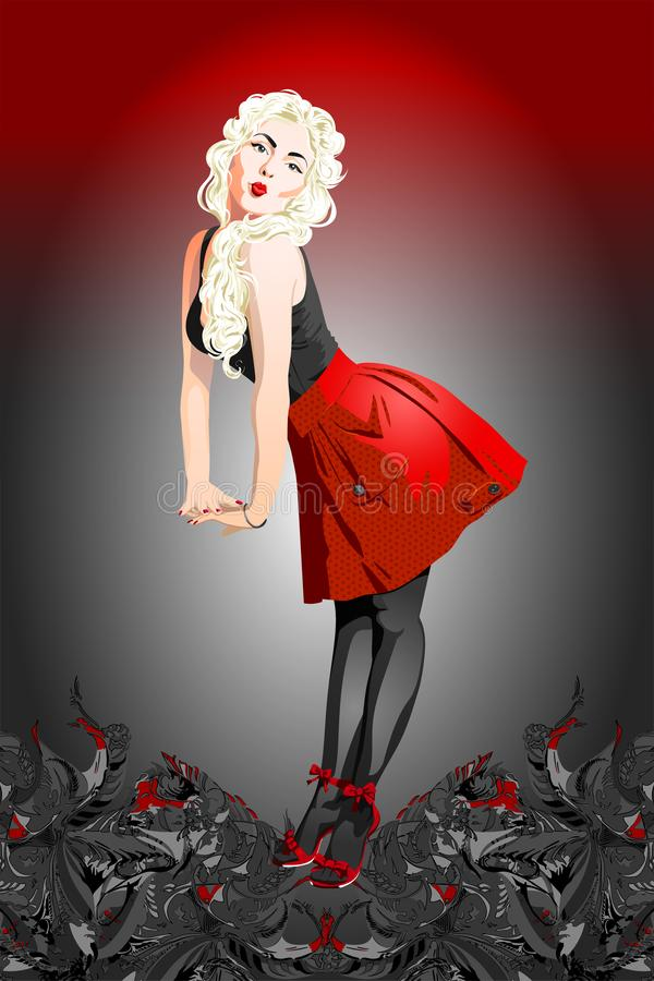 Een aantrekkelijk speld-omhooggaand meisje met blond haar vector illustratie