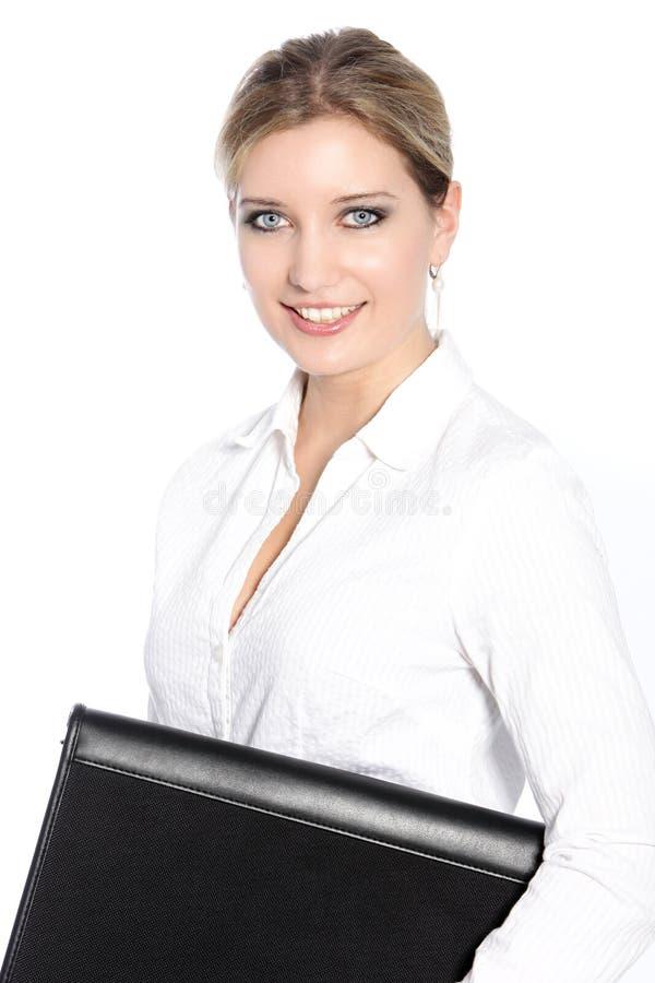 Een aantrekkelijke glimlachende blonde haired bedrijfsvrouw stock fotografie