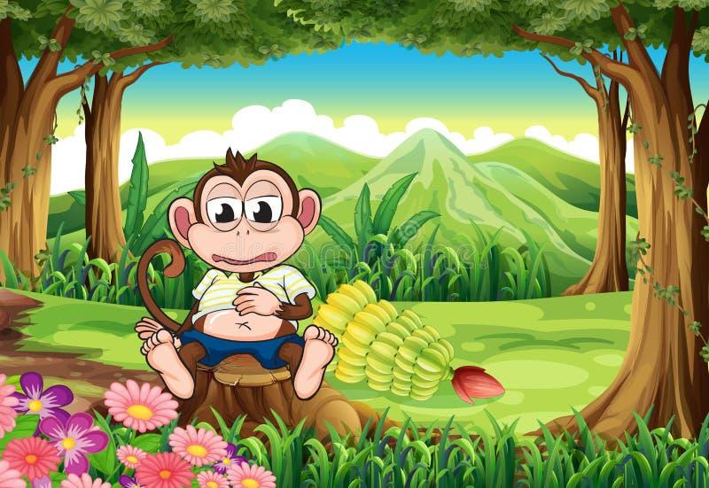 Een aap bij het bos met een volledige maag stock illustratie