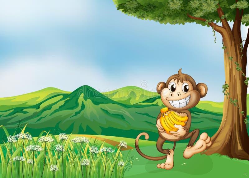 Een aap die een banaan houden royalty-vrije illustratie