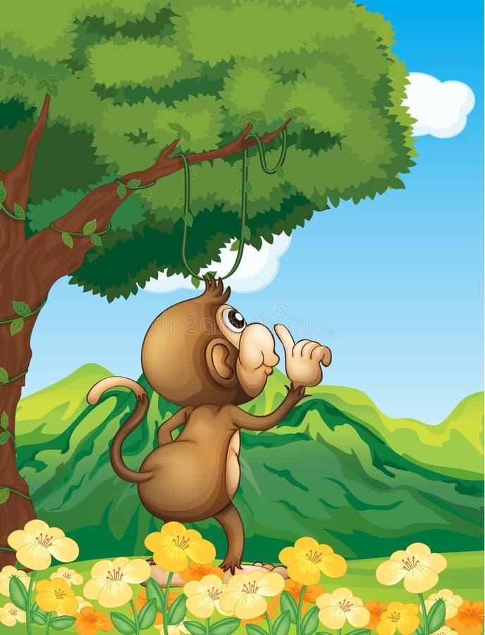 Een aap die in het bos benieuwd zijn stock illustratie
