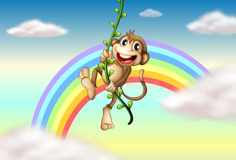 Een aap die op een wijnstok dichtbij de regenboog hangen royalty-vrije illustratie