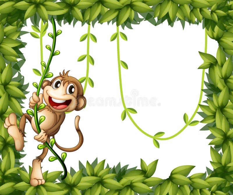 Een aap in een bladkader royalty-vrije illustratie