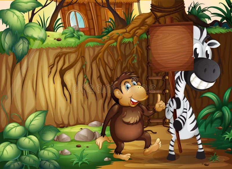 Een aap en een gestreepte holding een leeg houten uithangbord in FO vector illustratie