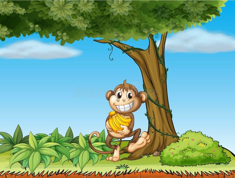 Een aap met bananen dichtbij een boom met wijnstokken vector illustratie