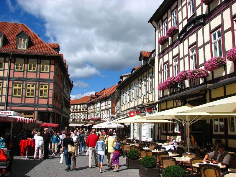 Een aardige de zomerdag in Wernigerode, Duitsland stock foto