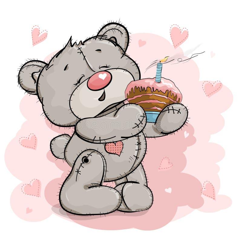 Een aardige Teddybeer houdt een cake royalty-vrije stock fotografie