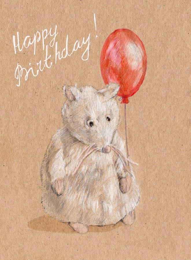 Een aardige witte muis met heldere rode ballon stock illustratie