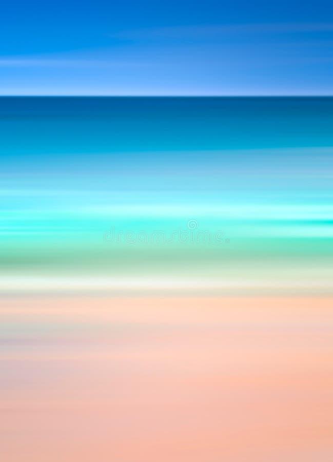Een abstract oceaanzeegezicht met vage motie Het beeld toont retro, kijkt de wijnoogst met dwars-verwerkte kleuren stock afbeelding