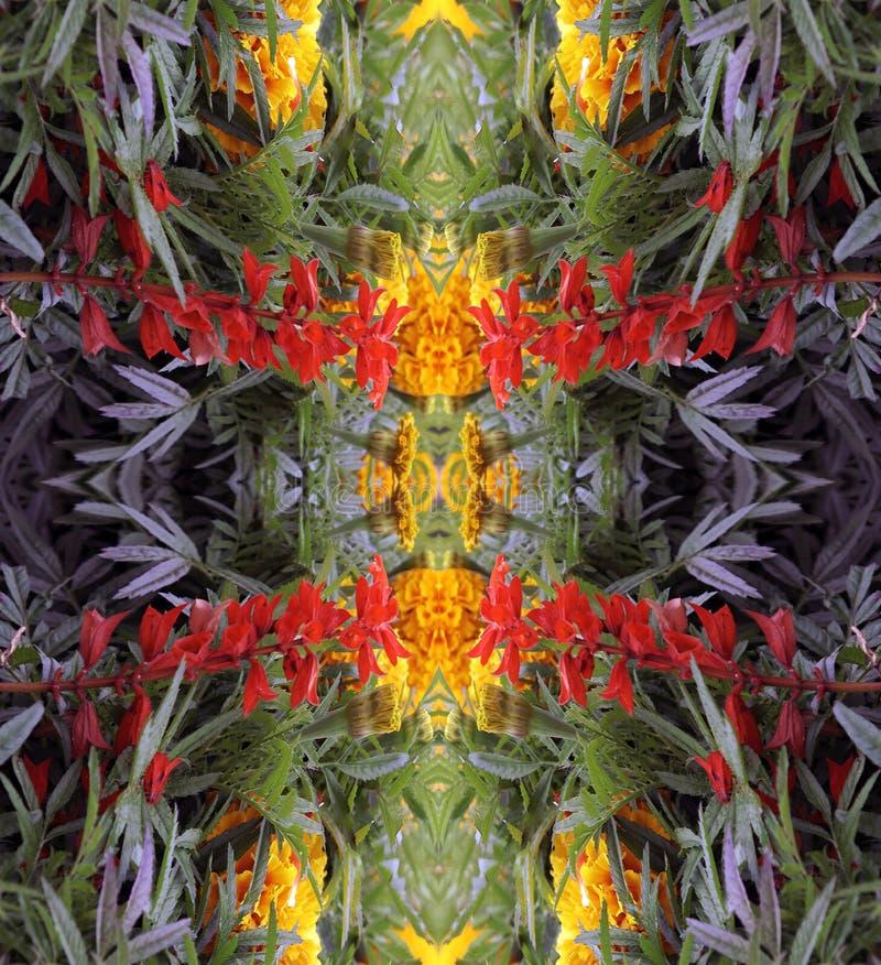 Een abstract patroon van bloemen en bladeren stock fotografie