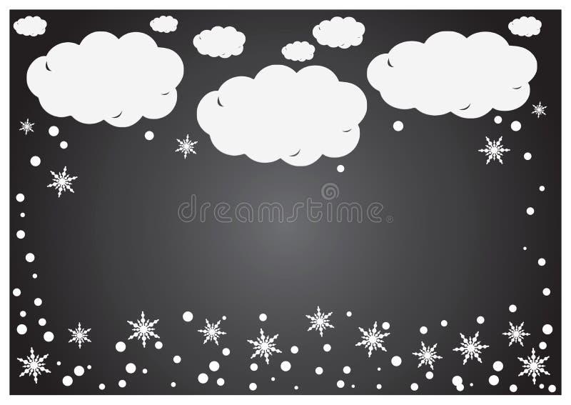 Een abstracte achtergrond van Witboek betrekt met sneeuwvlokken over grijs royalty-vrije illustratie