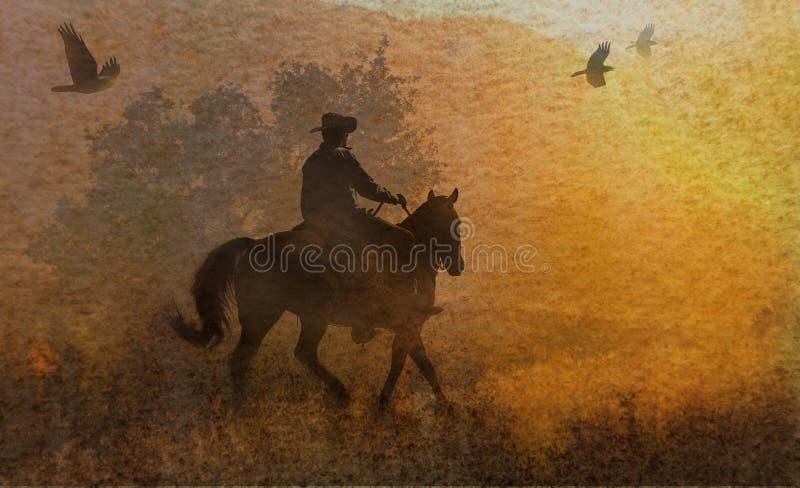 Een abstracte cowboy die in een weide met bomen, kraaien hierboven en een geweven waterverf gele achtergrond die vliegen berijden stock foto's