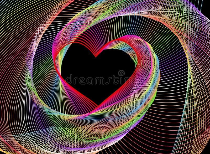 Een abstracte fractal hart-vormige achtergrond stock illustratie