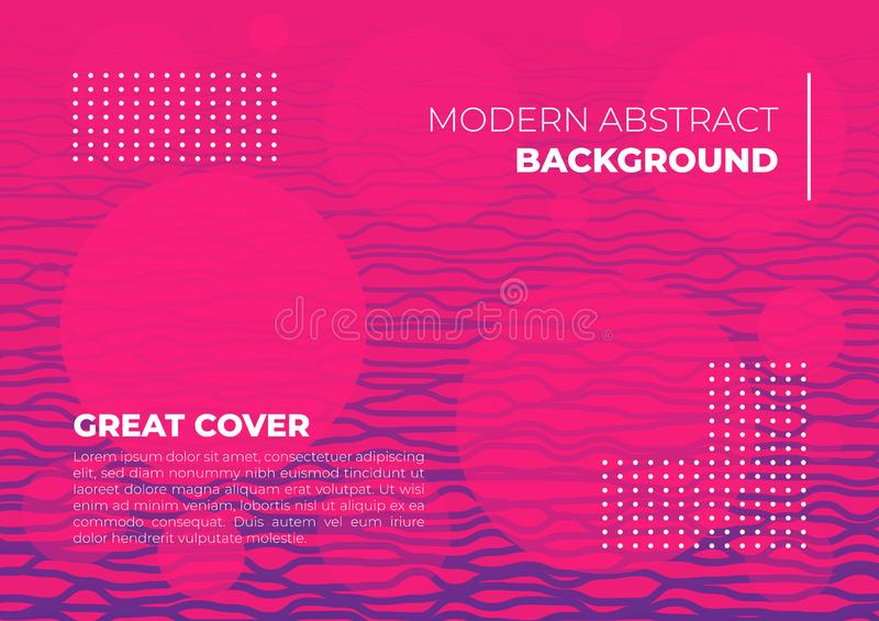 Een abstracte lijn trillende kleurrijke achtergrondbanner roze magenta purpere dekking royalty-vrije illustratie