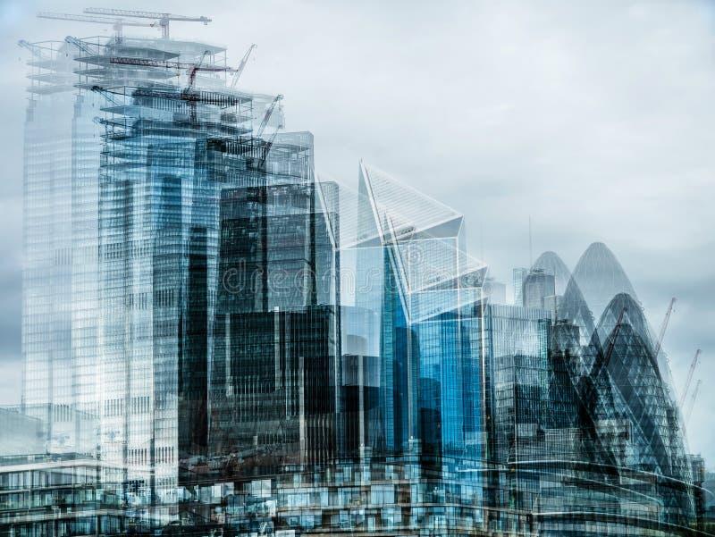 Een abstracte multi-blootstellingsmening van de Stad van Londen royalty-vrije stock afbeelding
