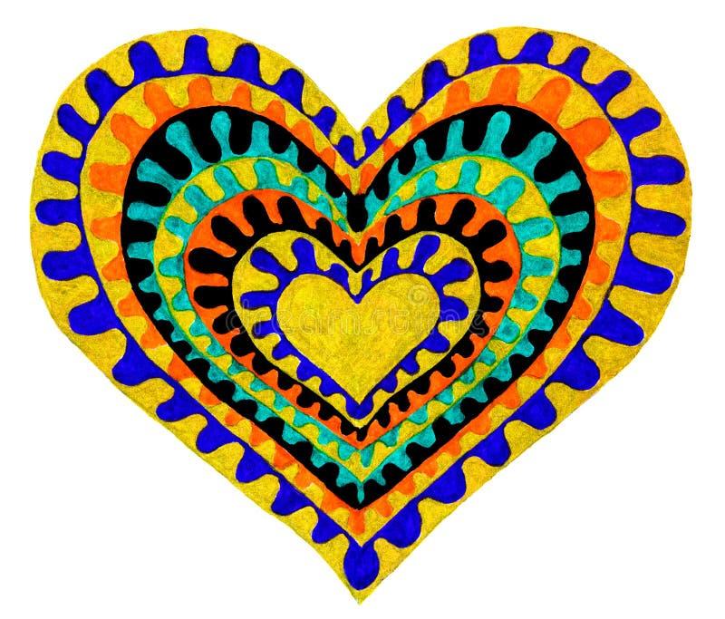 Een abstracte tekening van zeven harten in één royalty-vrije illustratie