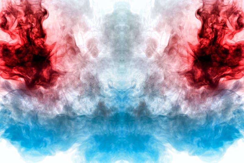 Een achtergrond van blauwe, rode en grijze golvende rook in de vorm van a stock illustratie