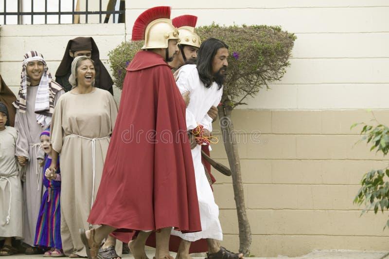 Een acteur die Jesus-Christus afbeeldt stock afbeeldingen