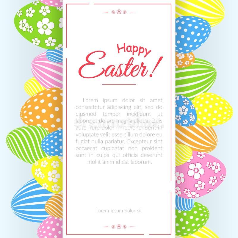Een affiche met de tekst Gelukkige Pasen op de achtergrond van decoratief gekleurd paaseieren Creatief malplaatje voor de reclame vector illustratie
