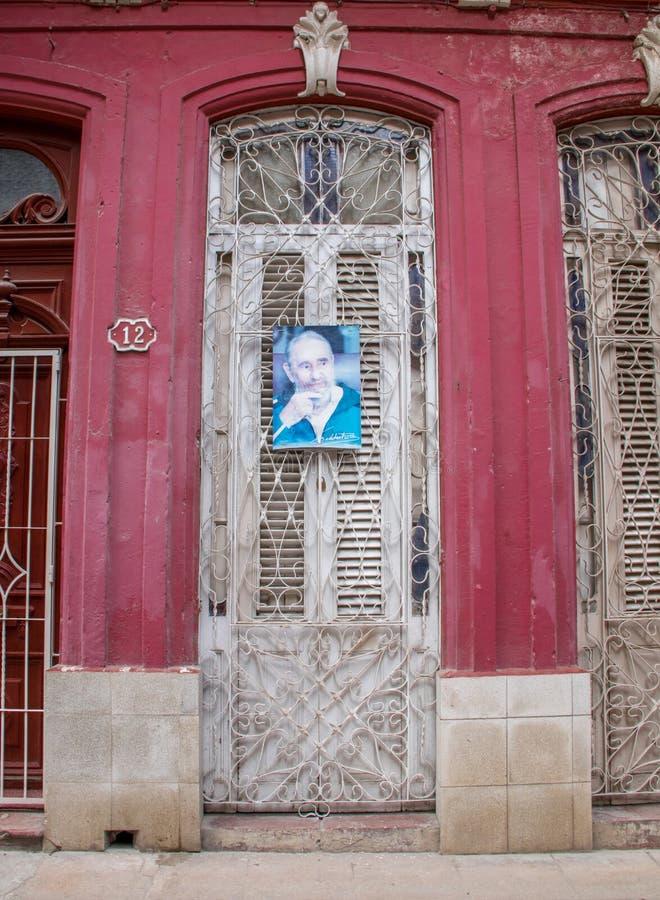 Een Affiche van Fidel Castro in Havana, Cuba royalty-vrije stock afbeeldingen