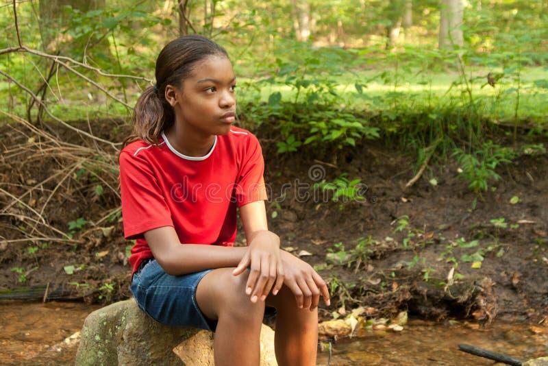 Een Afrikaans-Amerikaans meisje. stock afbeeldingen