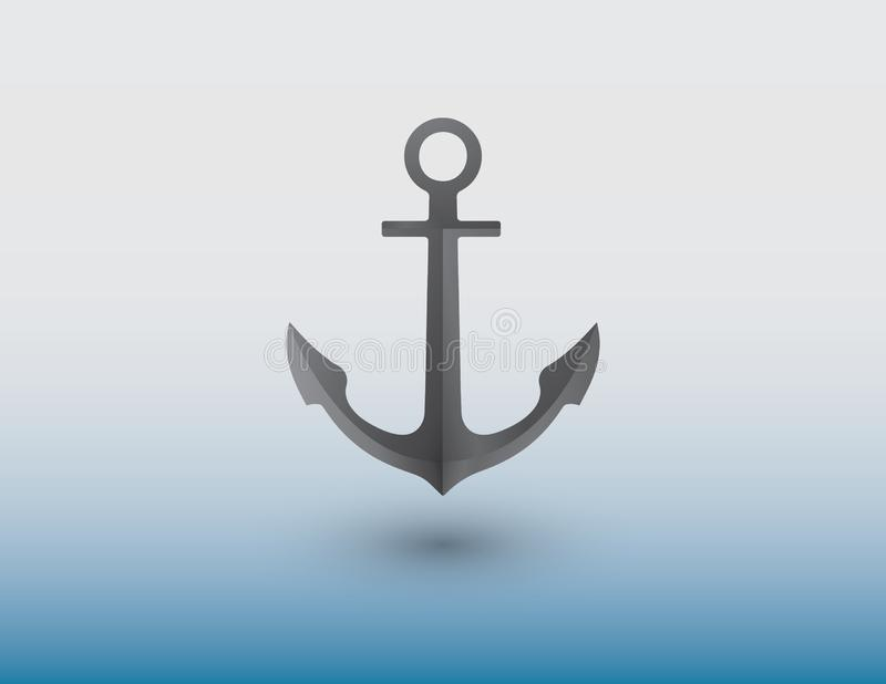 Een anker van ijzer voor schipvector wordt gemaakt om schip in het overzees op blauwe achtergrond te beveiligen die stock illustratie