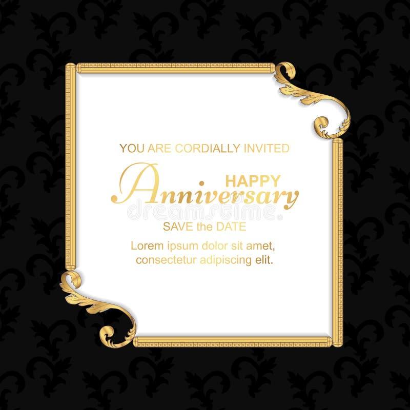 Een antieke uitstekende prentbriefkaar in zwarte met een gouden vierkant kader, voor uitnodigingen voor de verjaardag Het ornamen royalty-vrije stock fotografie