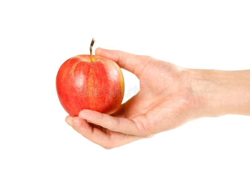 Een appel een dag houdt weg de arts Sluit omhoog Ge?soleerdj op witte achtergrond royalty-vrije stock foto's