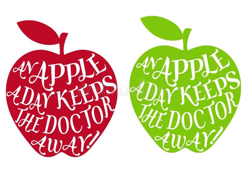 Een appel een dag, vector royalty-vrije illustratie