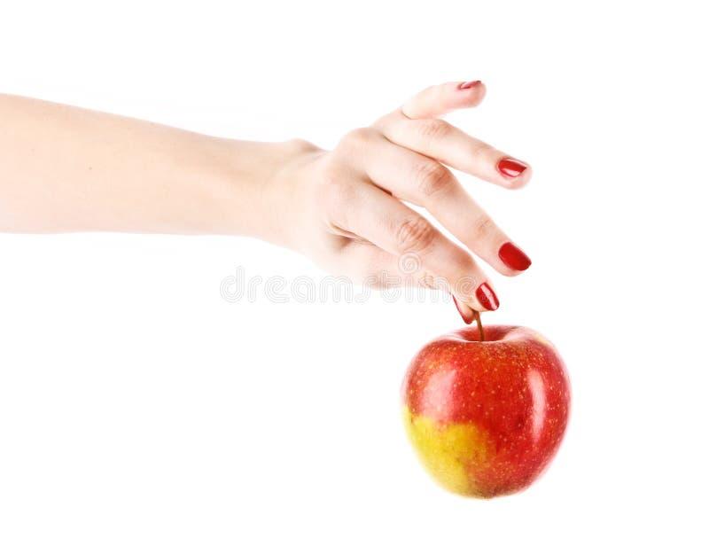 Een appel op de geïsoleerden hand stock afbeeldingen