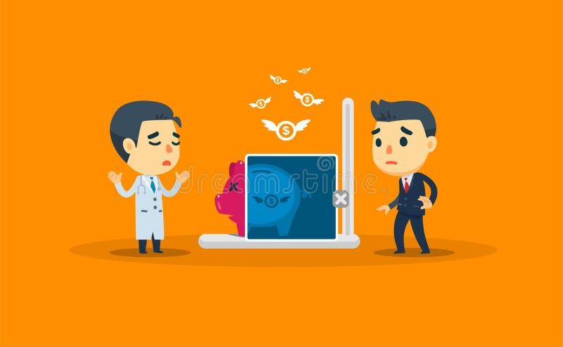Een arts controleert de spaargelden van een ondernemer vectorillustratie royalty-vrije illustratie