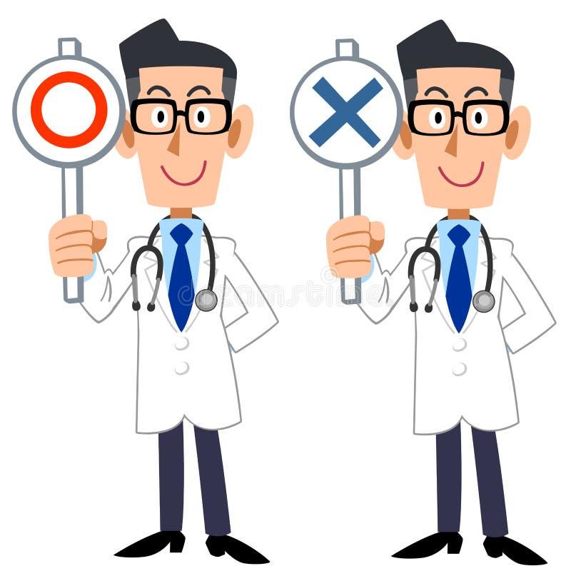 Een arts toont antwoorden van correct en onjuist stock illustratie