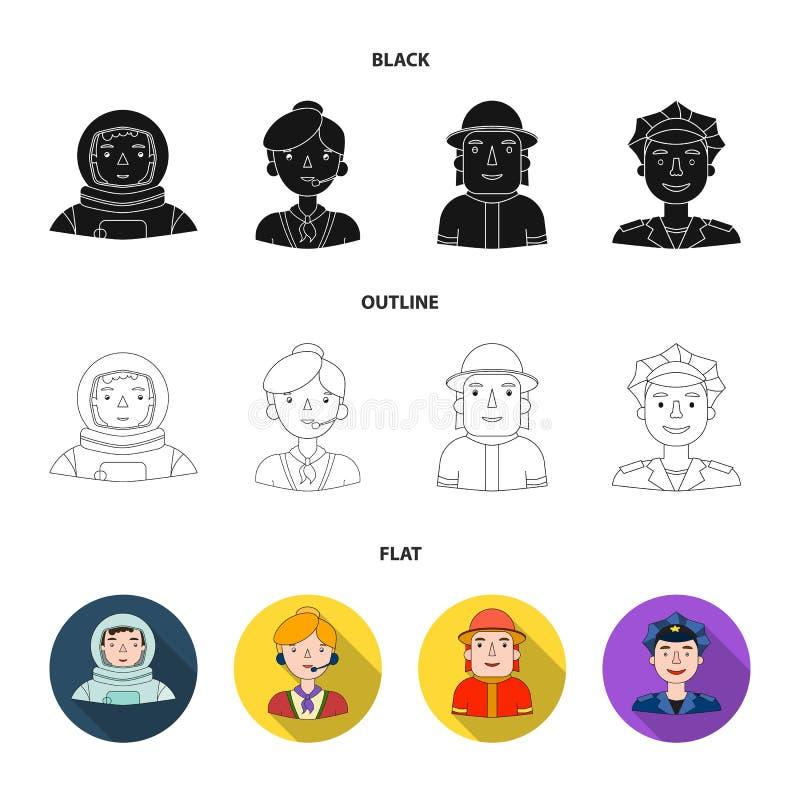 Een astronaut in een spacesuit, een medewerker met een microfoon, een brandweerman in een helm, een politieagent met een kenteken stock illustratie
