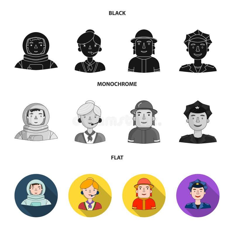 Een astronaut in een spacesuit, een medewerker met een microfoon, een brandweerman in een helm, een politieagent met een kenteken vector illustratie