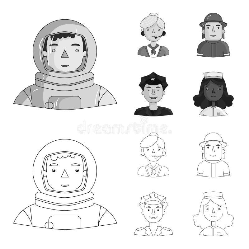 Een astronaut in een spacesuit, een medewerker met een microfoon, een brandweerman in een helm, een politieagent met een kenteken royalty-vrije illustratie