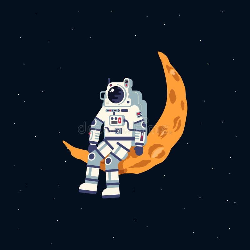 Een astronaut in een spacesuit zit op de maanhalve maan royalty-vrije illustratie