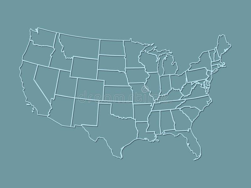 Een atlas van de Verenigde Staten van Amerika met lichtblauwe lijnen met het in de schaduw stellen op donkerblauwe achtergrond vector illustratie