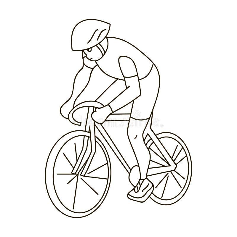 Een atleet met een helm die zijn fiets berijden op het gebied cycling De olympische sporten kiezen pictogram in het vectorsymbool vector illustratie