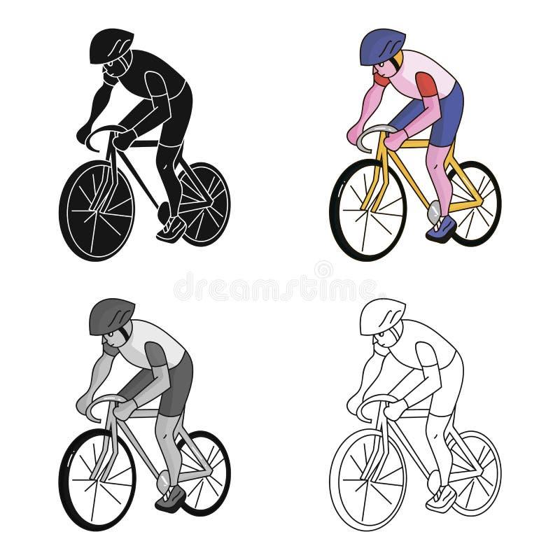Een atleet met een helm die zijn fiets berijden op het gebied cycling De olympische sporten kiezen pictogram in het vectorsymbool stock illustratie