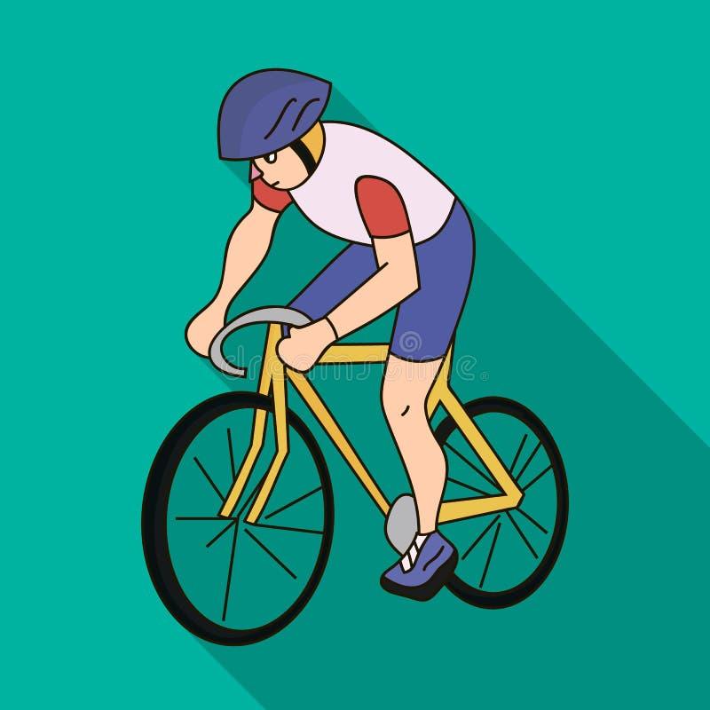 Een atleet met een helm die zijn fiets berijden op het gebied cycling De olympische sporten kiezen pictogram in vlak stijl vector royalty-vrije illustratie