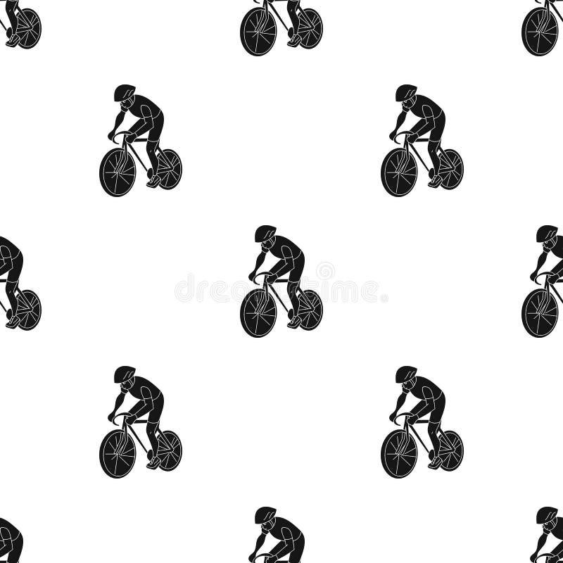 Een atleet met een helm die zijn fiets berijden op het gebied cycling De olympische sporten kiezen pictogram in zwart stijl vecto vector illustratie