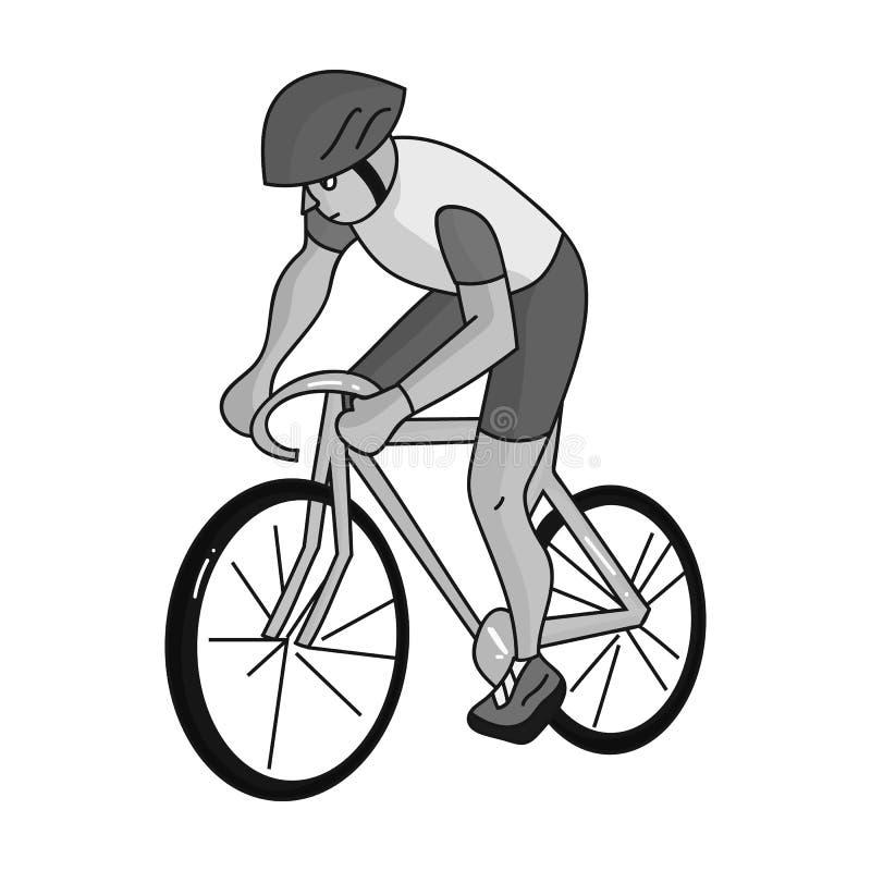 Een atleet met een helm die zijn fiets berijden op het gebied cycling De olympische sporten kiezen pictogram in zwart-wit stijlve vector illustratie