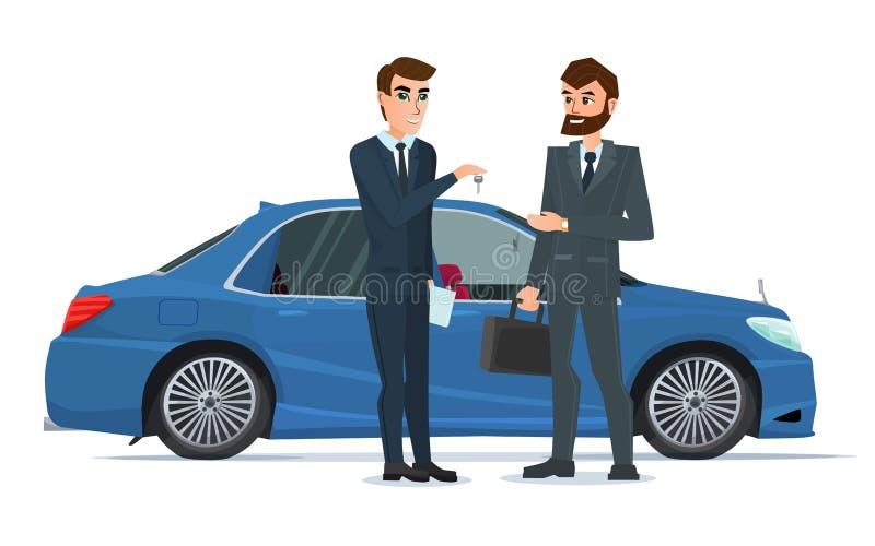 Een Autoverkoop aan de andere mens wordt overhandigd die royalty-vrije illustratie