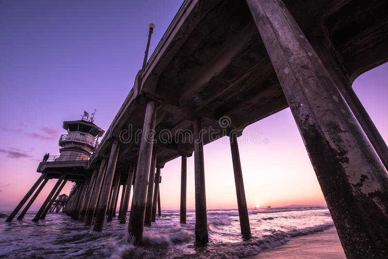 Een avond in Huntington Beach, CA stock foto