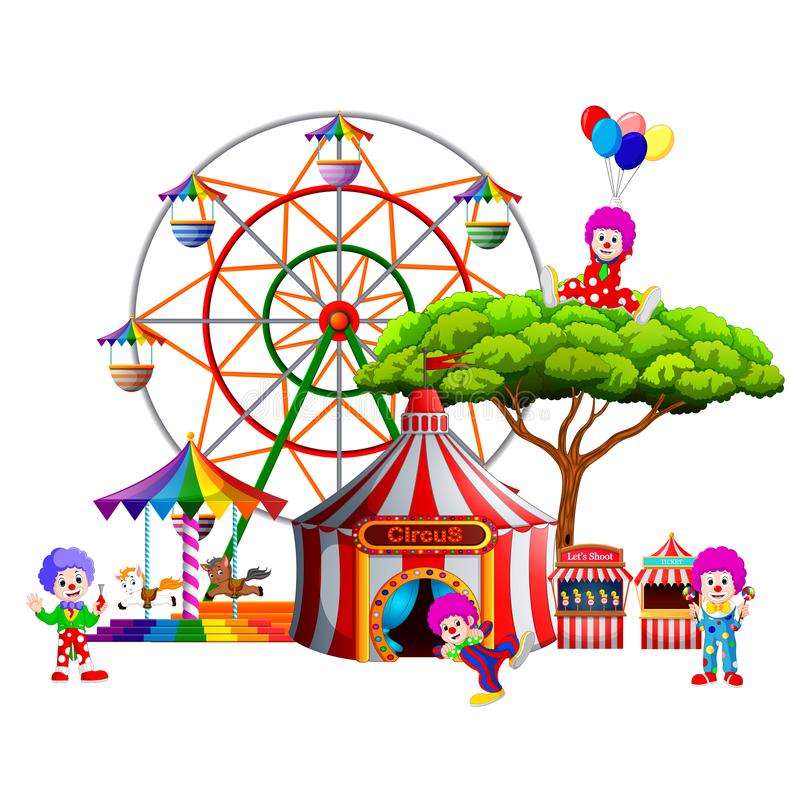 Een awasome circus met zo vele clown rond het vector illustratie