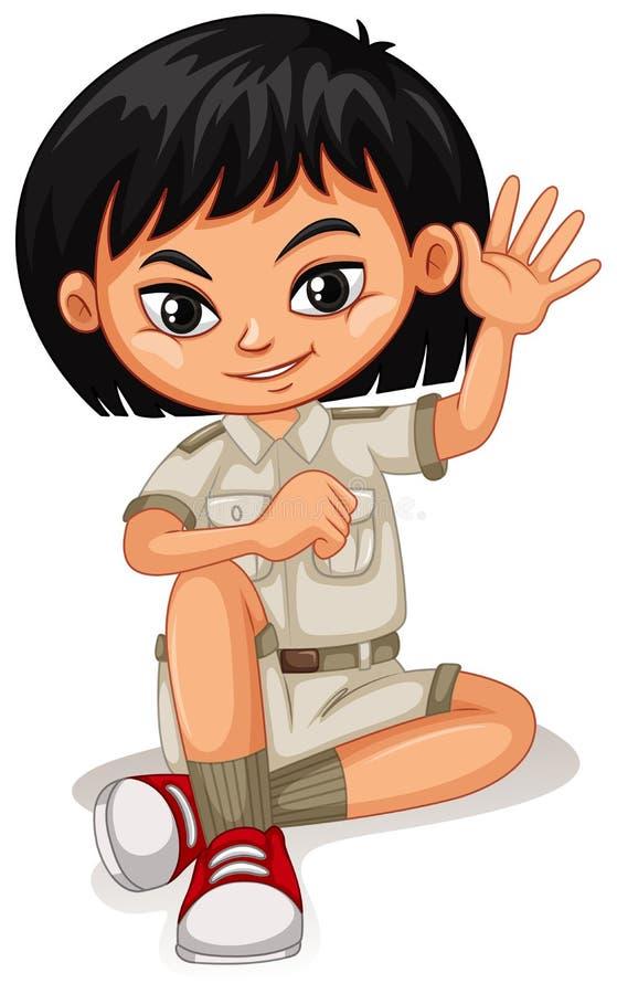 Een Aziatisch Meisje in Safari Suit vector illustratie
