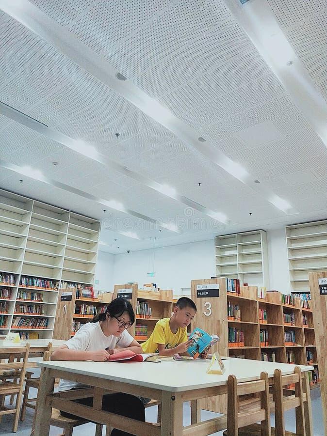 Een Aziatische vrouw en een kleine jongen die lezen royalty-vrije stock foto's