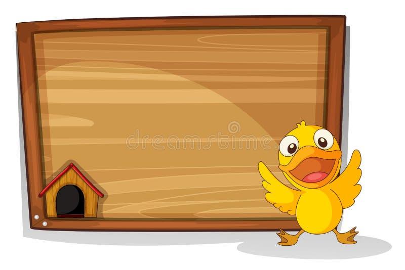 Een babyeend voor een houten raad vector illustratie